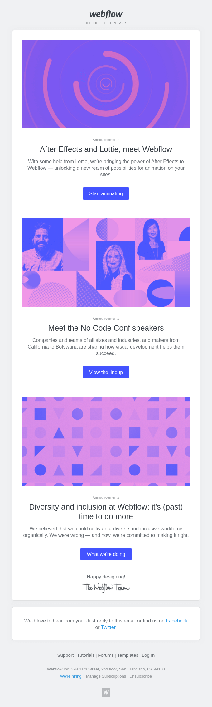 🎉 Lottie is here + 📣 No Code Conf speakers + 👥 Diversity at Webflow