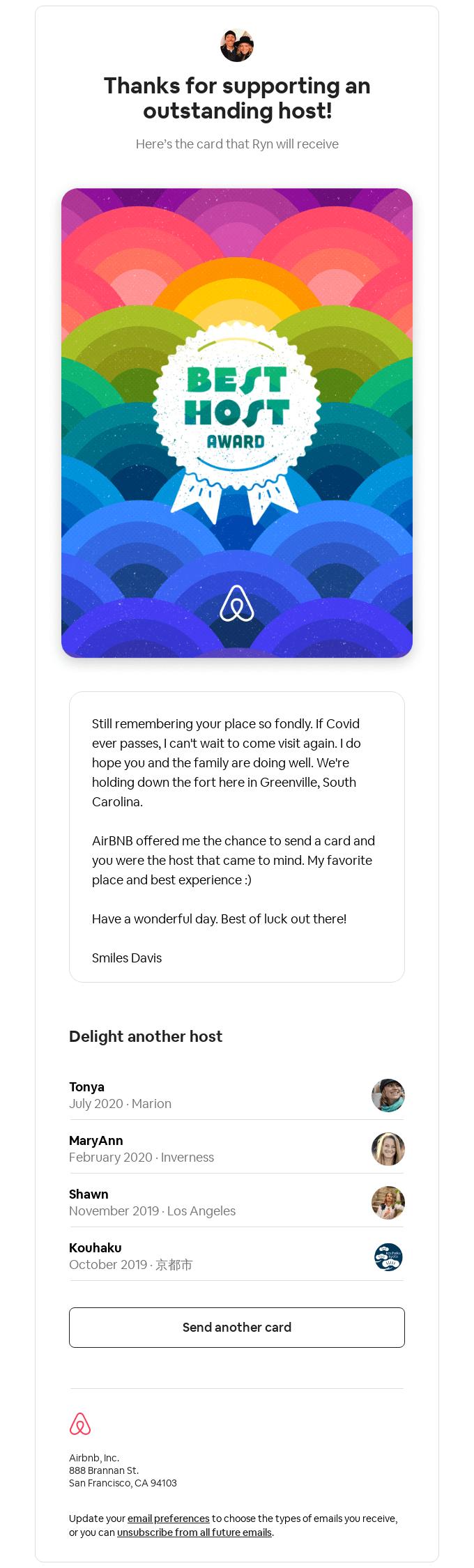 Airbnb - Best Host Award