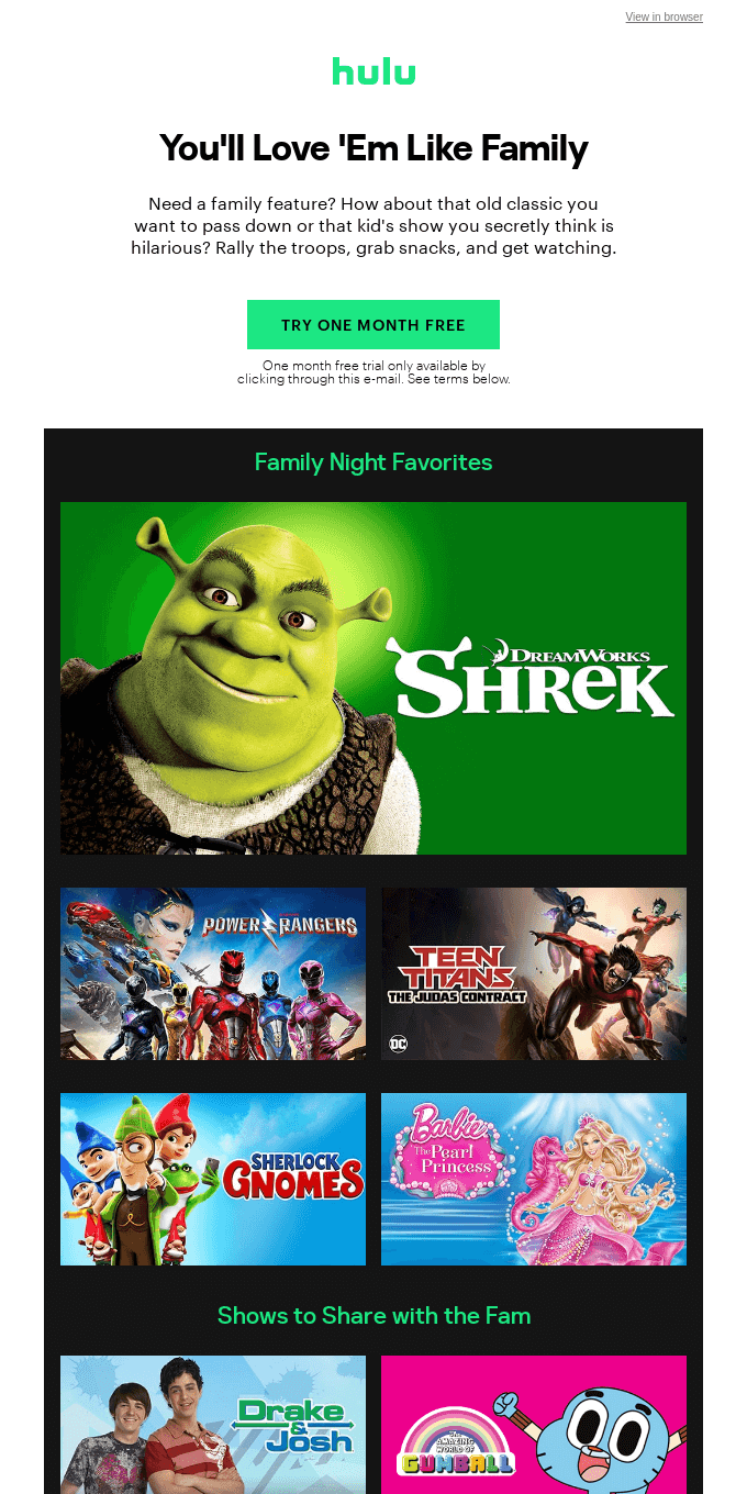 (1) Friendly Message From Hulu: Watch These Family Favorites on Hulu With a Free Month Trial