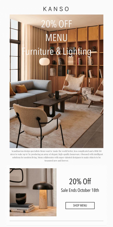 20% Off MENU Furniture and Lighting 🙌