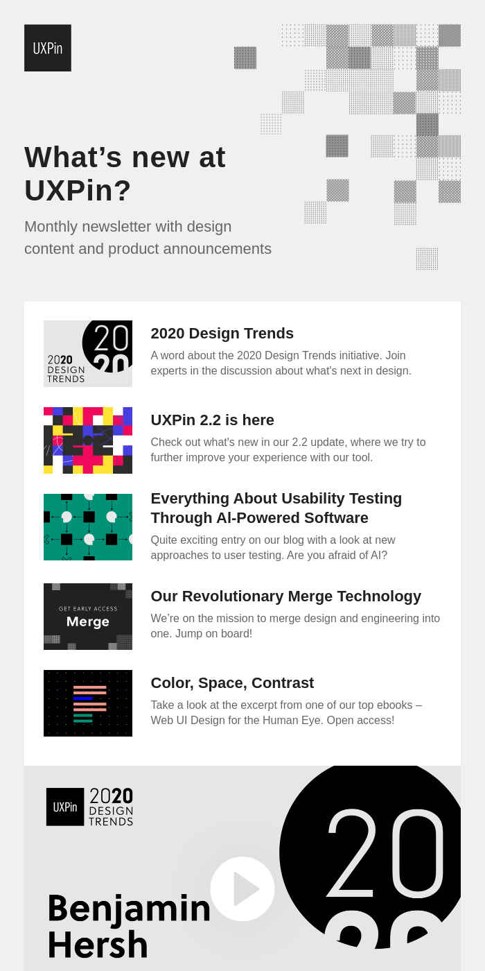 2020 Design Trends, new grids, AI usability testing, and more