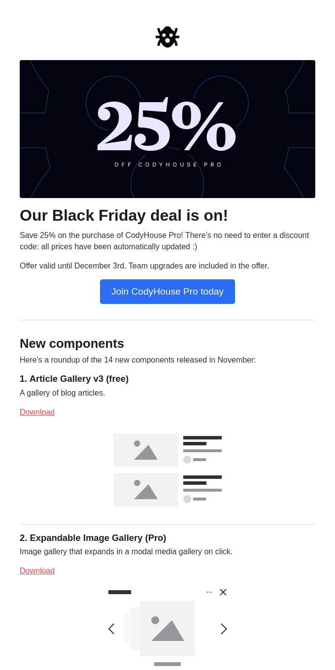 25% off CodyHouse Pro - Black Friday deal!