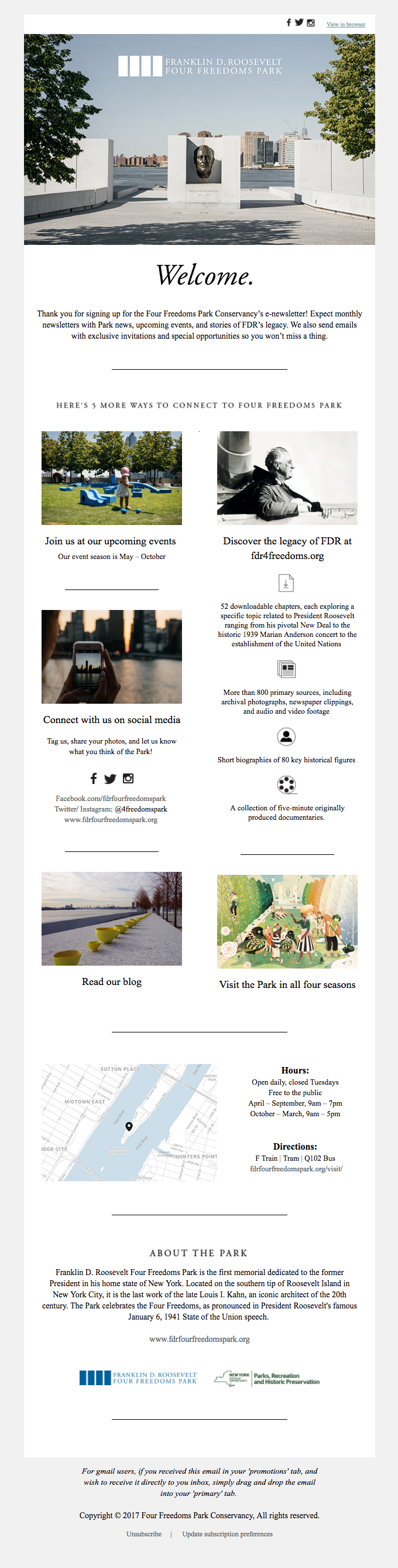 The Franklin D. Roosevelt Four Freedoms Park Welcome Email