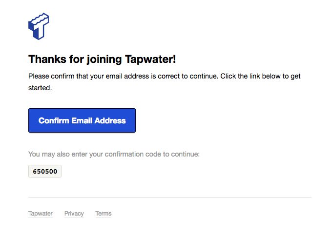 650500 – Confirm your Tapwater email address