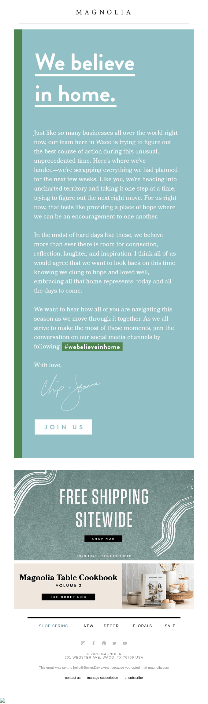 A letter from Chip and Joanna