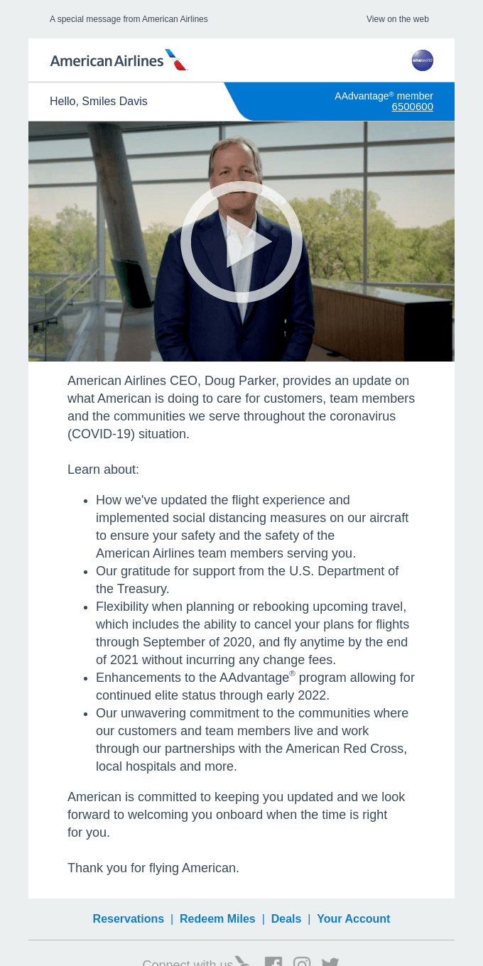 A message from American's CEO, Doug Parker