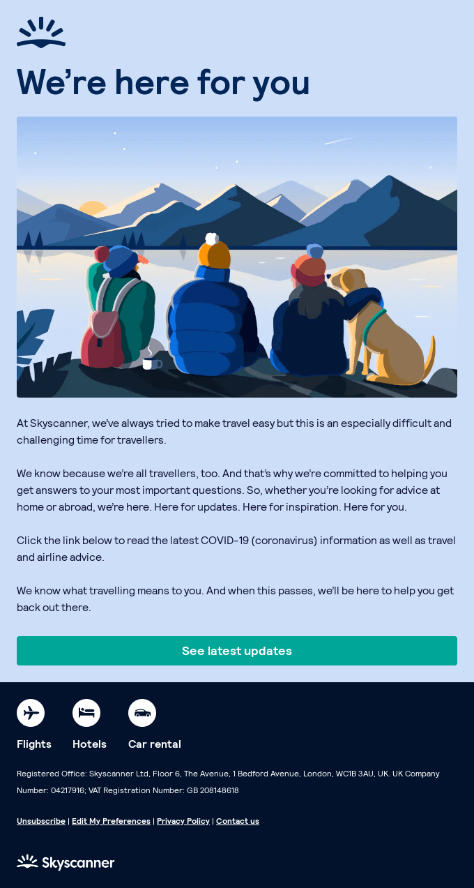 A message from Skyscanner