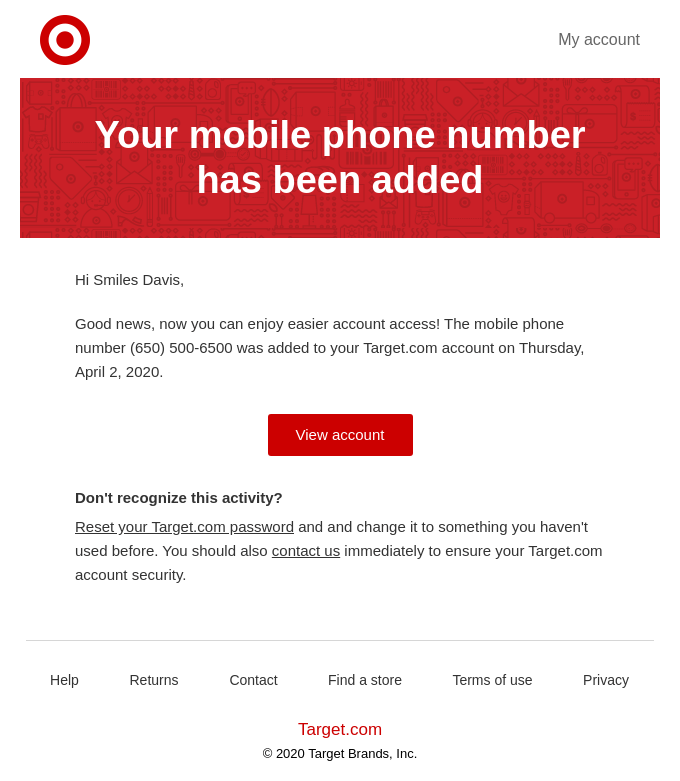 A new mobile phone number has been added to your account.