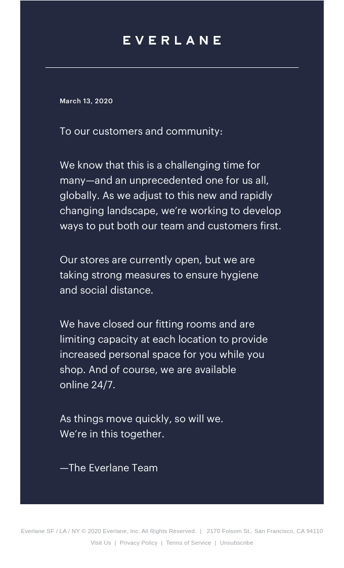 A Note To Our Community