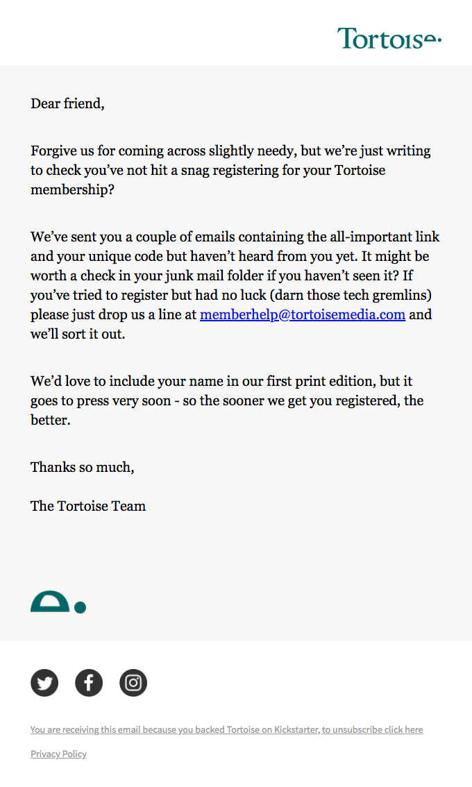 A reminder to register for your Tortoise membership