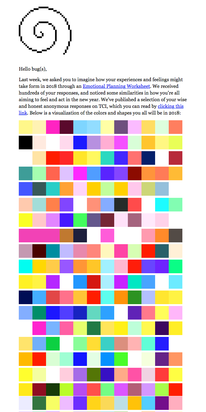 A visualization of the colors and shapes you all will be in 2018