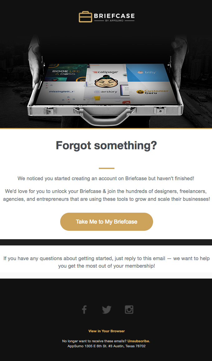 Access your Briefcase free trial
