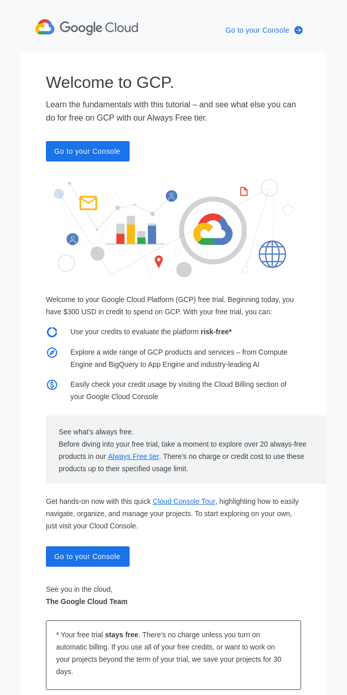 Account confirmation: Your Google Cloud Platform free trial