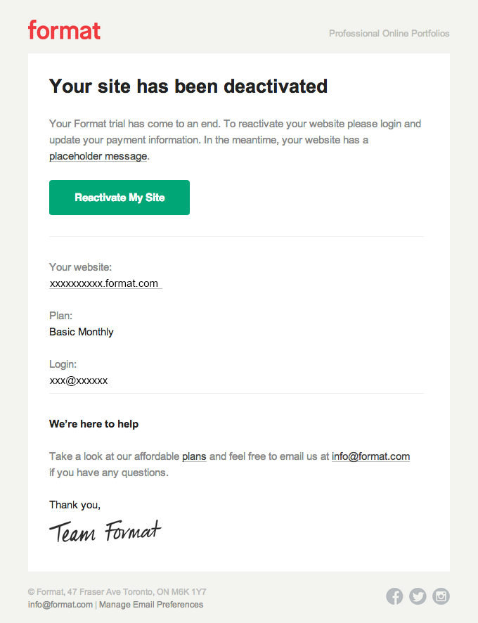 Your Site Is Inactive