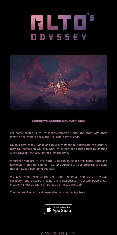 Alto's Odyssey Canada Day Sale (60% Off)