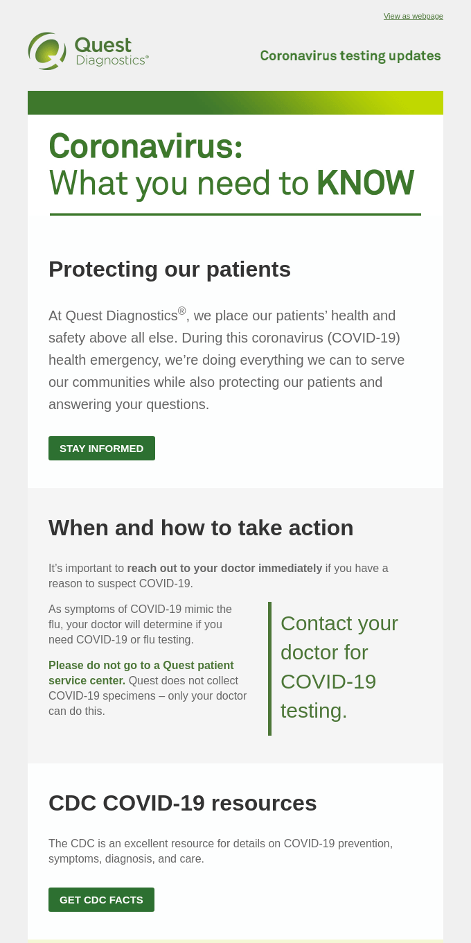 An update on COVID-19 from Quest Diagnostics