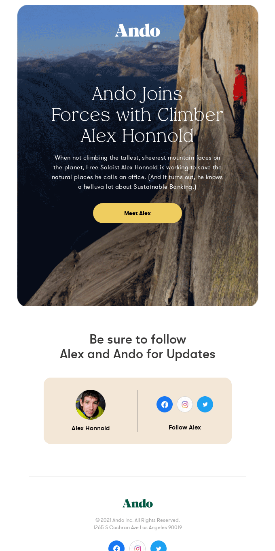 Ando Welcomes Alex Honnold