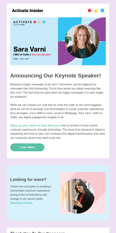 Announcing Sara Varni, CMO of Twilio as Keynote at Activate