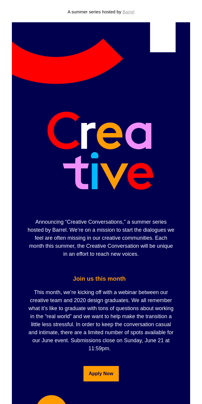 Announcing the Creative Conversations summer series🌞