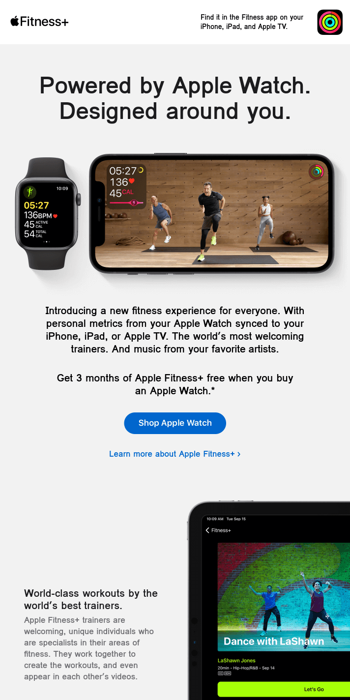 Apple Fitness+ is here. Get 3 months free when you buy an Apple Watch.