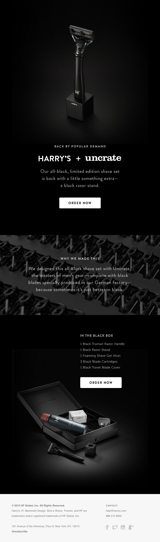 Harry's - Back in Black email design trends