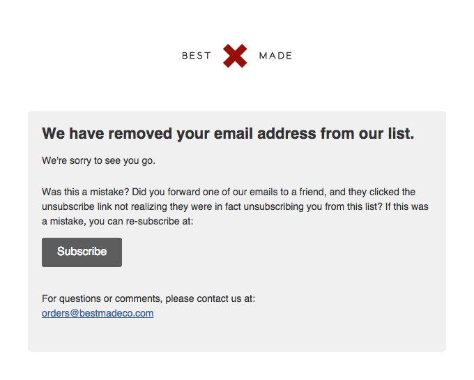 Best Made Company Email List: You Are Now Unsubscribed