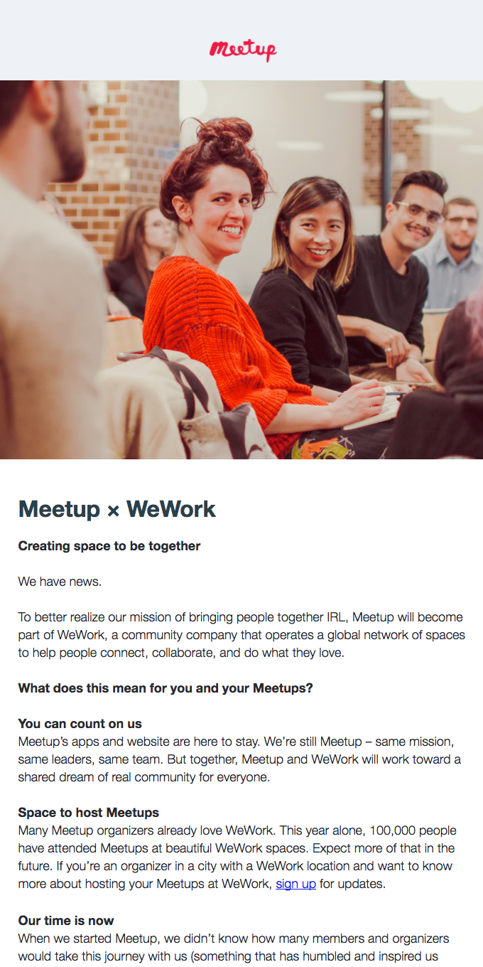 Big News! Meetup × WeWork