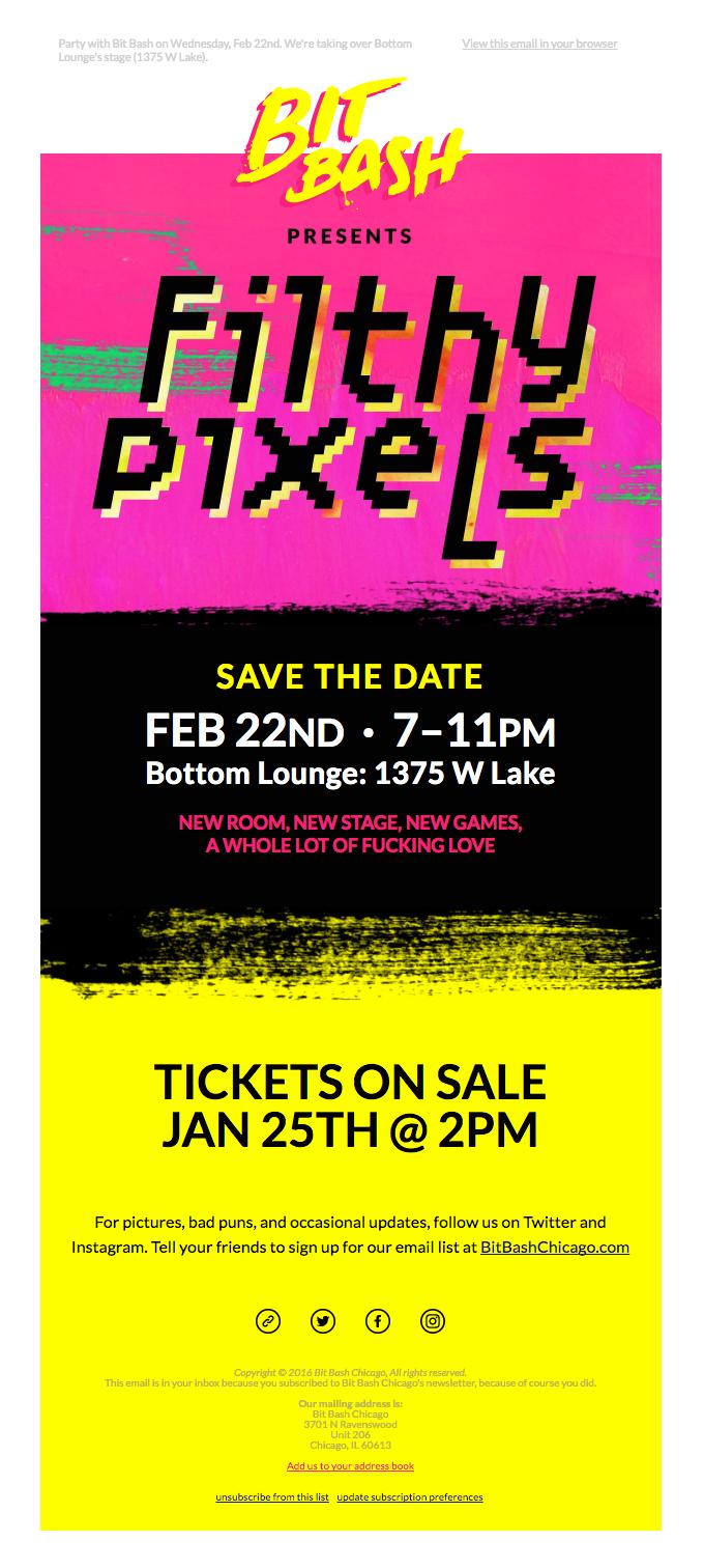 ⚡ BIT BASH PRESENTS Filthy Pixels, Feb 22nd. Tickets on sale Jan 25th. ⚡