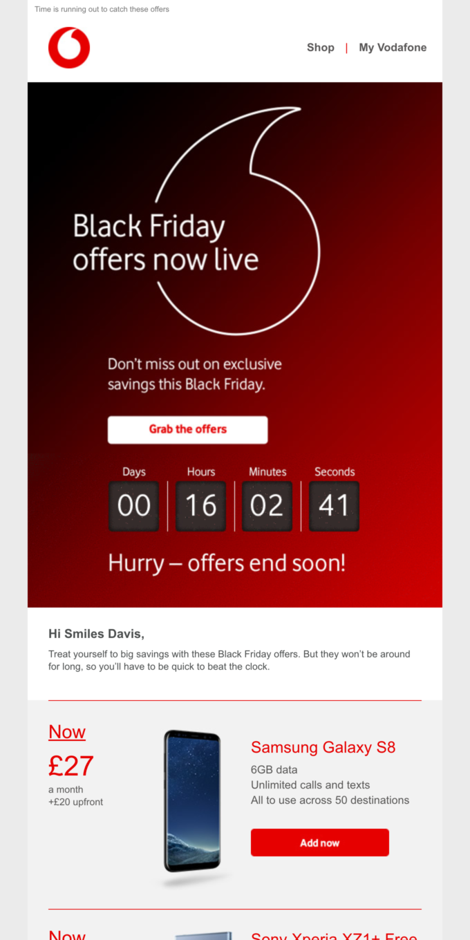 Black Friday offers are here! The clock is ticking Smiles Davis…