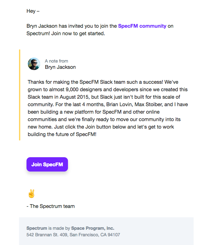 Bryn Jackson has invited you to join the SpecFM community on Spectrum