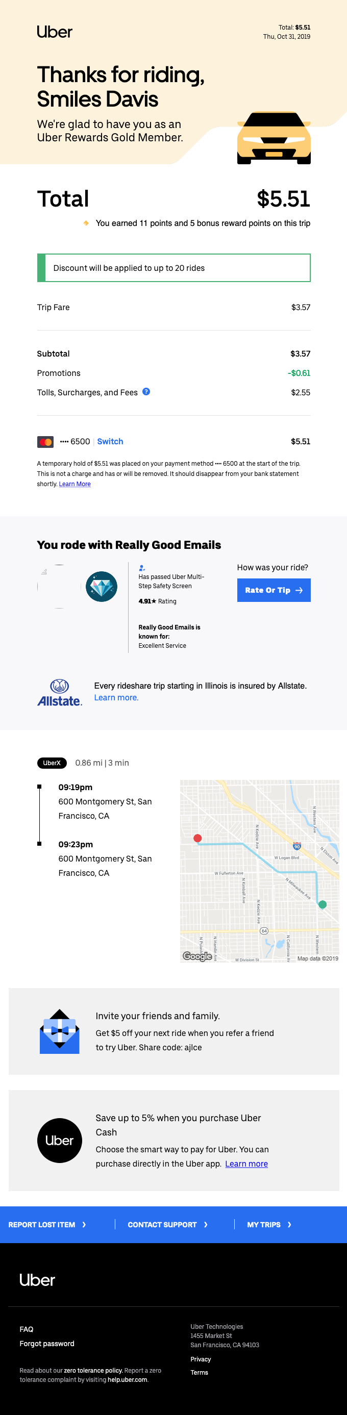 [Business] Your Thursday evening trip with Uber