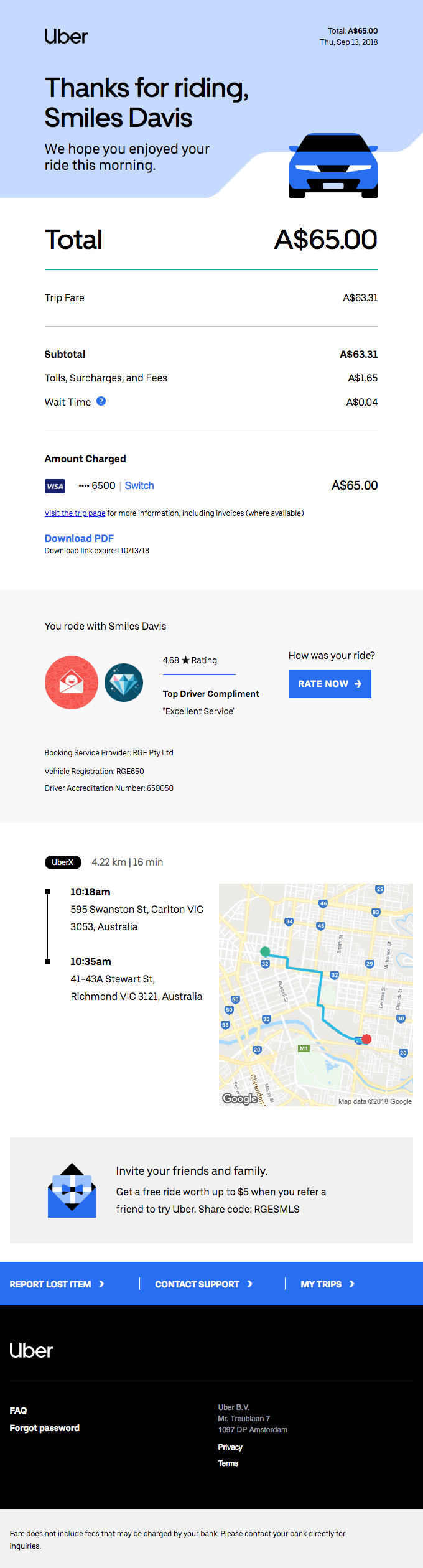 [Business] Your Thursday morning trip with Uber