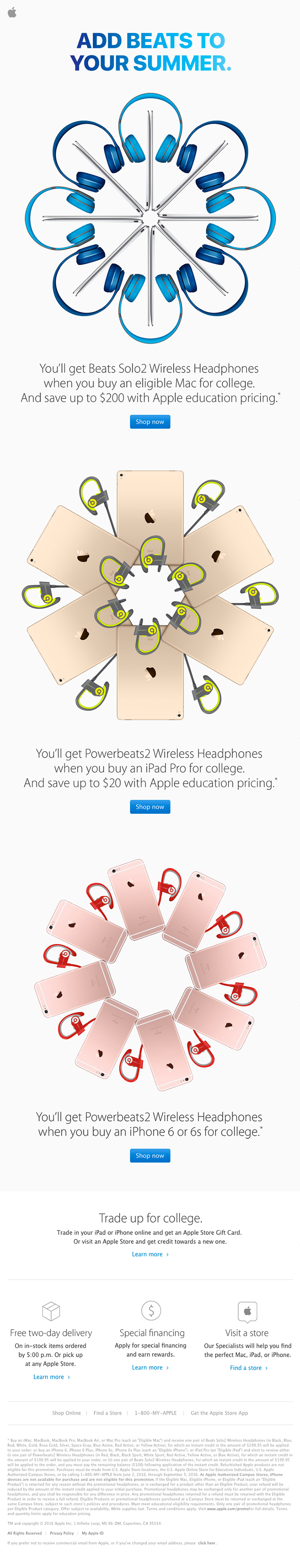 Buy an eligible Mac, iPad, or iPhone for college. Get Beats.