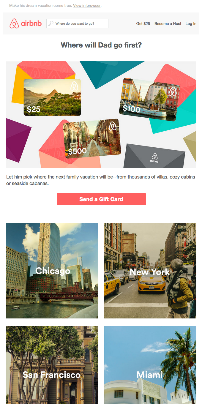 Celebrate Dad with an Airbnb gift card