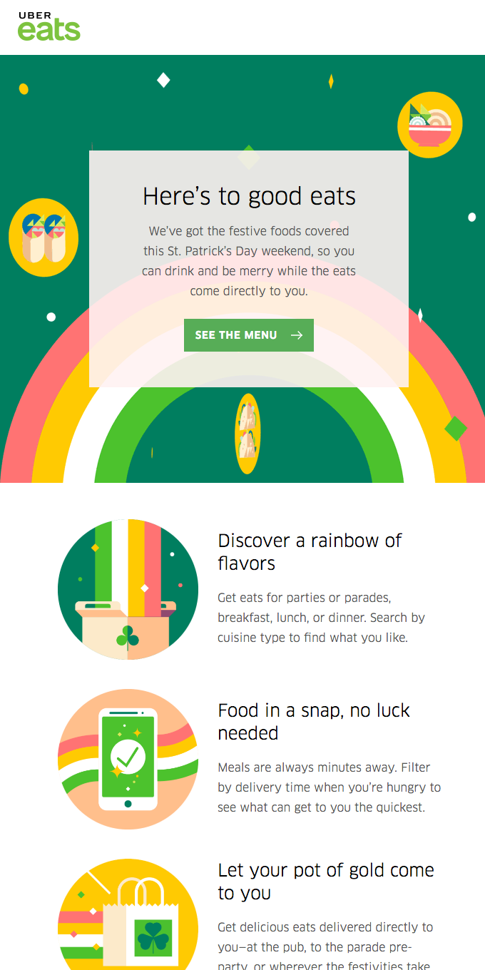 Celebrate St. Paddy's Day with Uber Eats