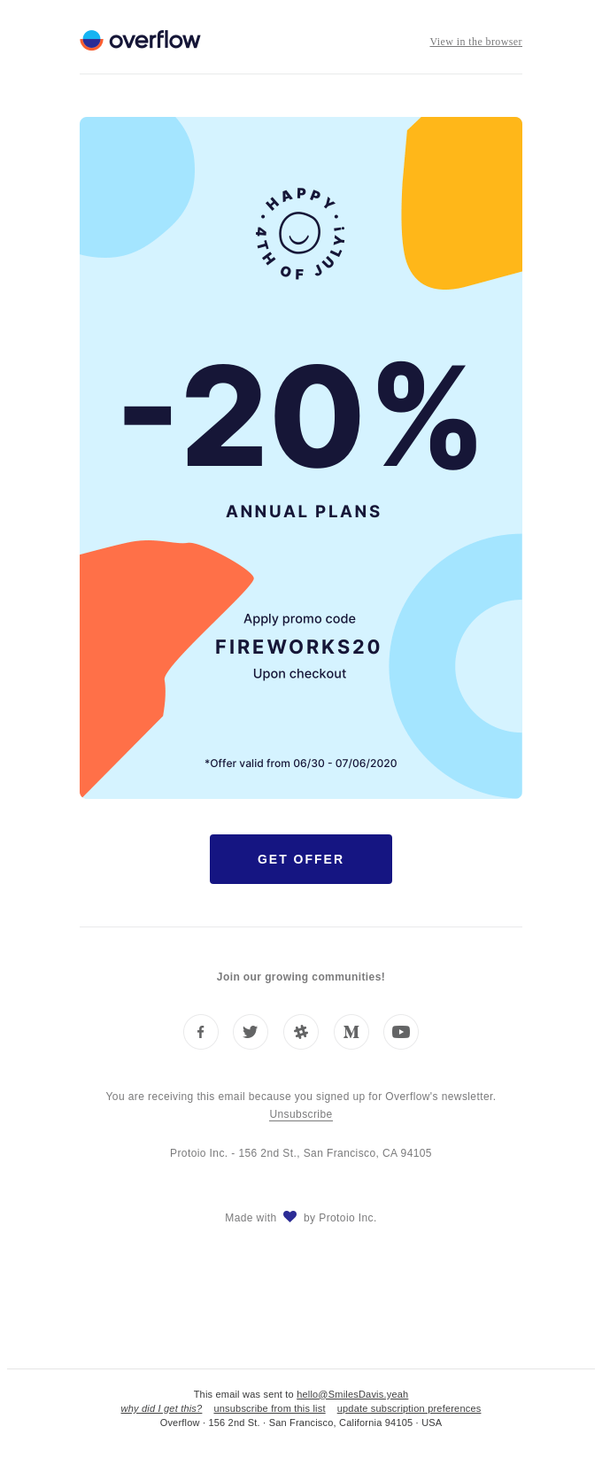 Celebrate the 4th of July early with 20% OFF on Overflow annual plans.