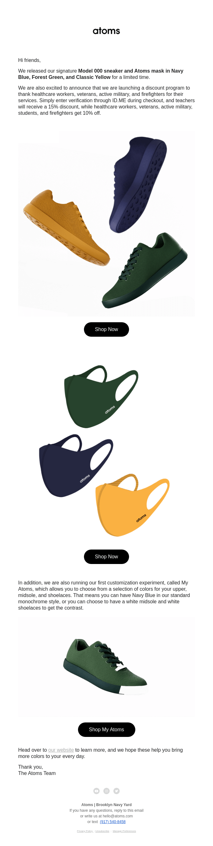 Celebrate the Season With Three New Atoms Mask and Shoe Colors