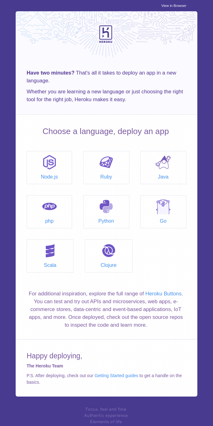 Choose a language, deploy an app in minutes
