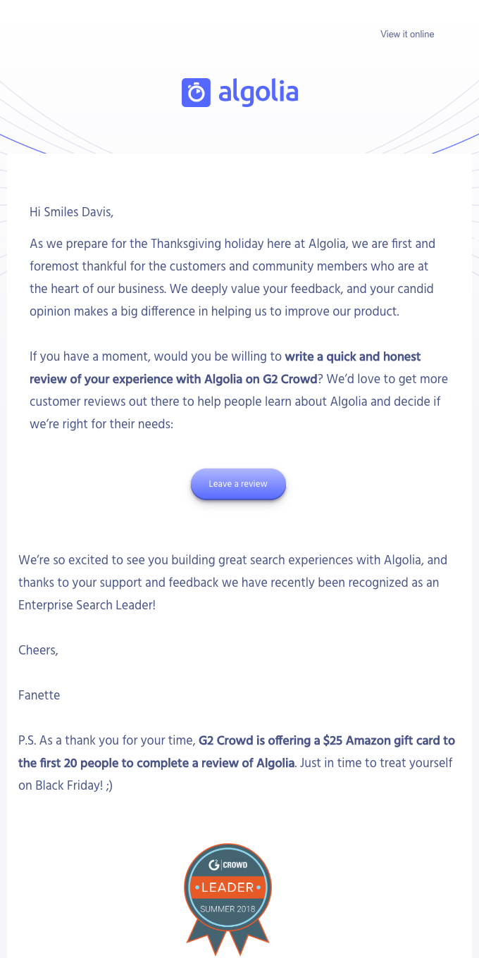 Claim your giftcard in time for Black Friday! Review Algolia