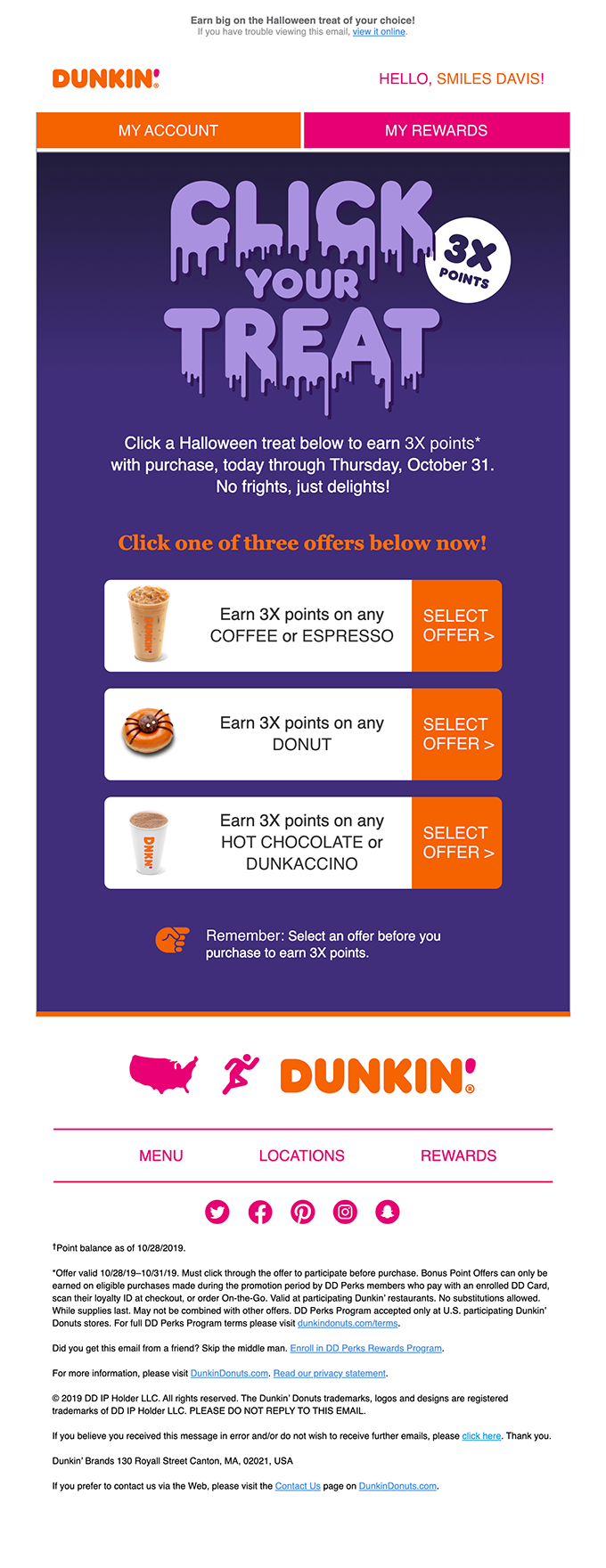 Click Your Treat and Earn 3X Points