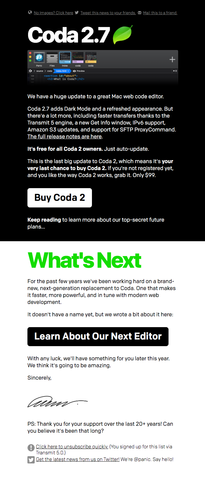 🍃 Coda 2.7 is here! And about Coda 3…