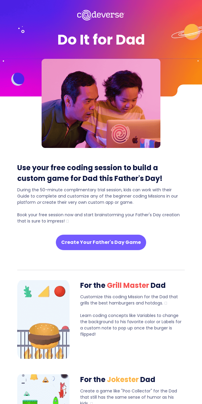 Code a Game for Dad This Father's Day, for Free!