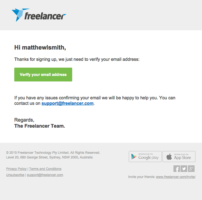 Complete your Freelancer registration with one click!