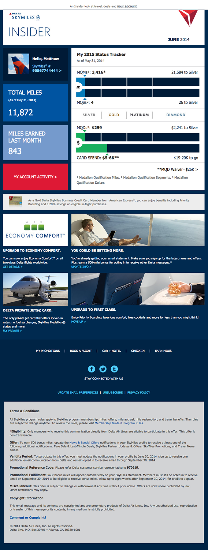 Complex Responsive Account Update Email from Delta