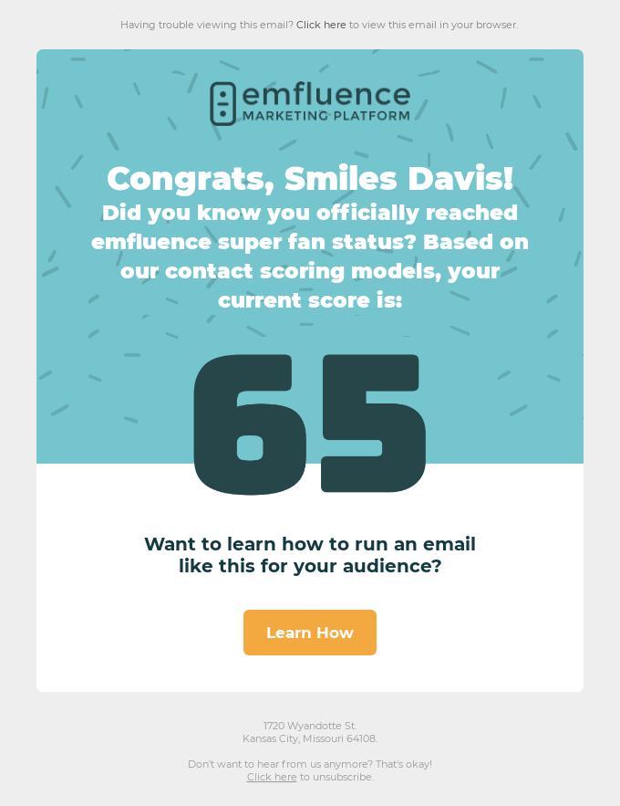 Congrats, Smiles Davis, you've reached a 65 contact score!