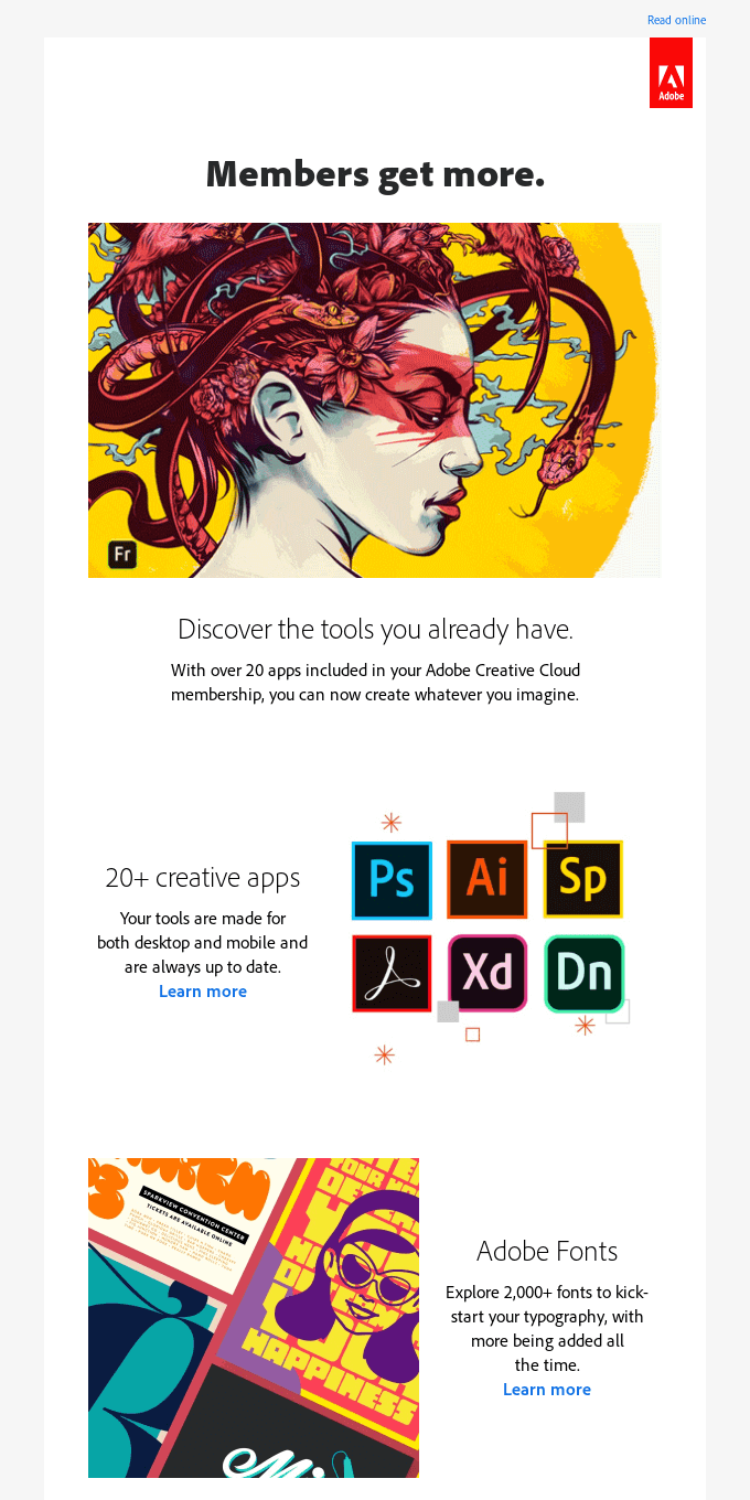 Creative Cloud member benefits: Explore 20+ products and tools