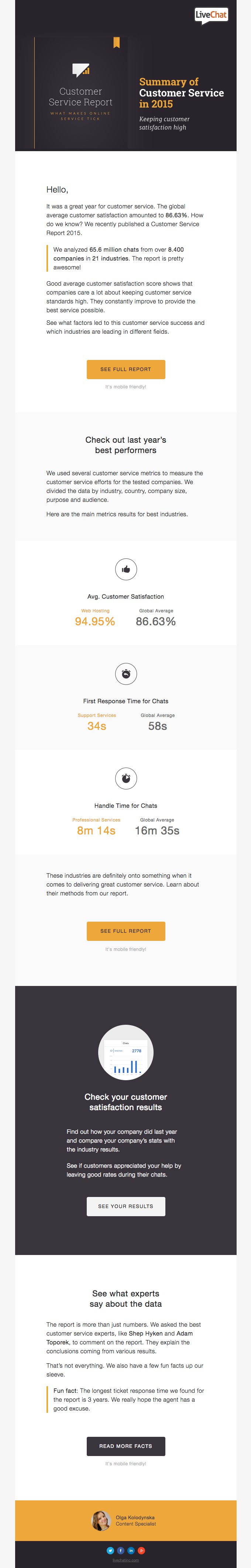 Customer Service Report 2015