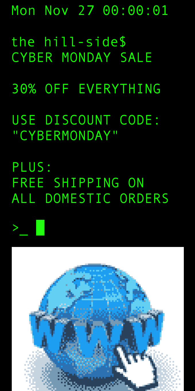 Cyber Monday Sale: 30% Off Everything