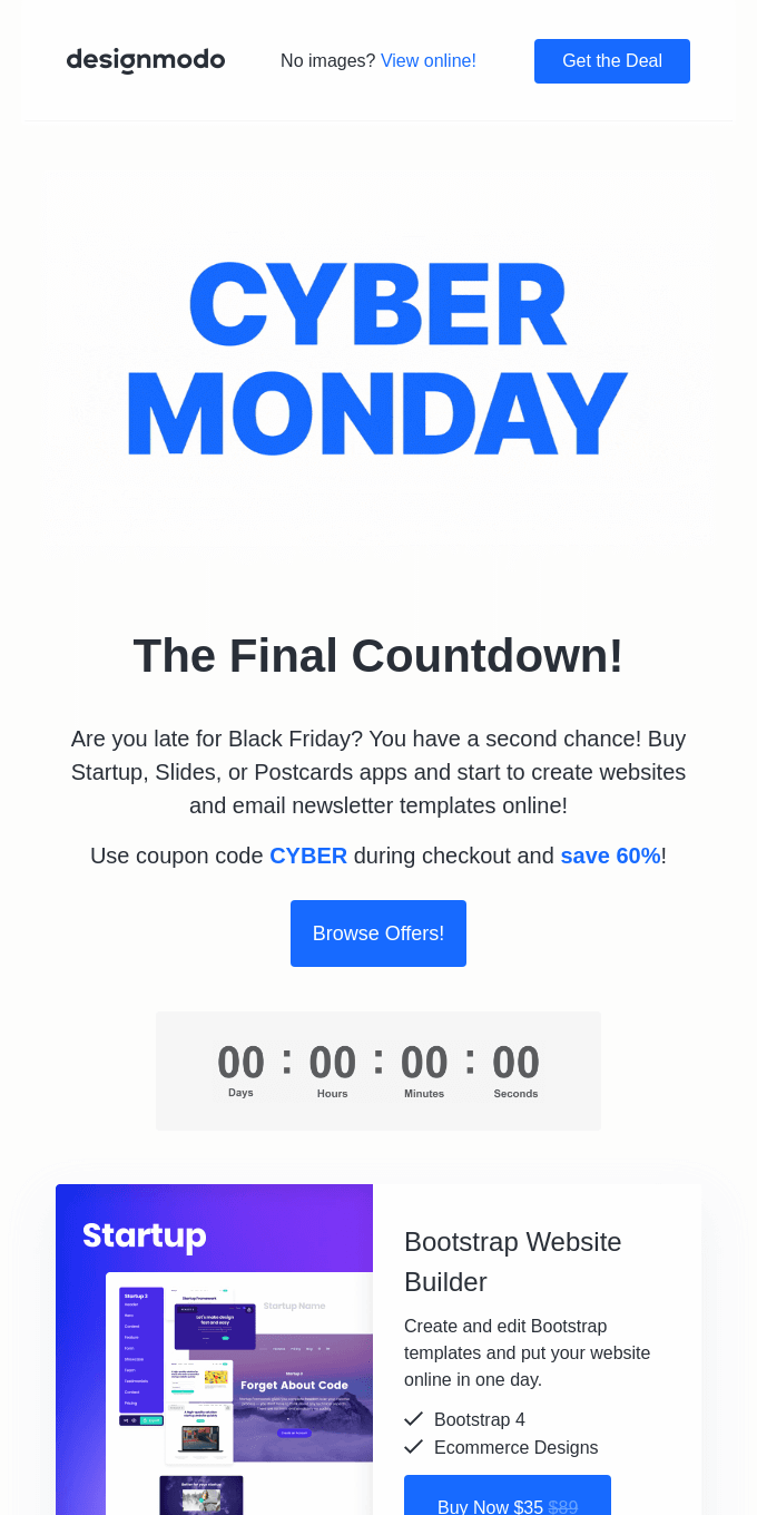 Cyber Monday: The Final Countdown! 60% OFF on Designmodo 🔥