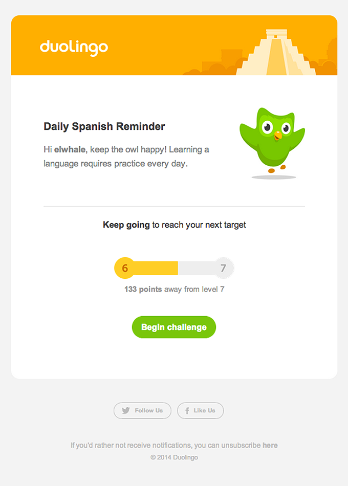 Duolingo Emails on Really Good Emails